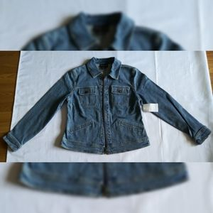 New Women's Style & Co. Distressed Jean Jacket M